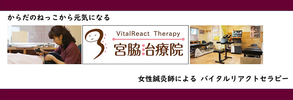 からだの根っこから元気にきれいになる。女性鍼灸師によるバイタルリアクトセラピー。大阪府豊中市にあるバイタルリアクトセラピーなら、宮脇治療院へどうぞ。